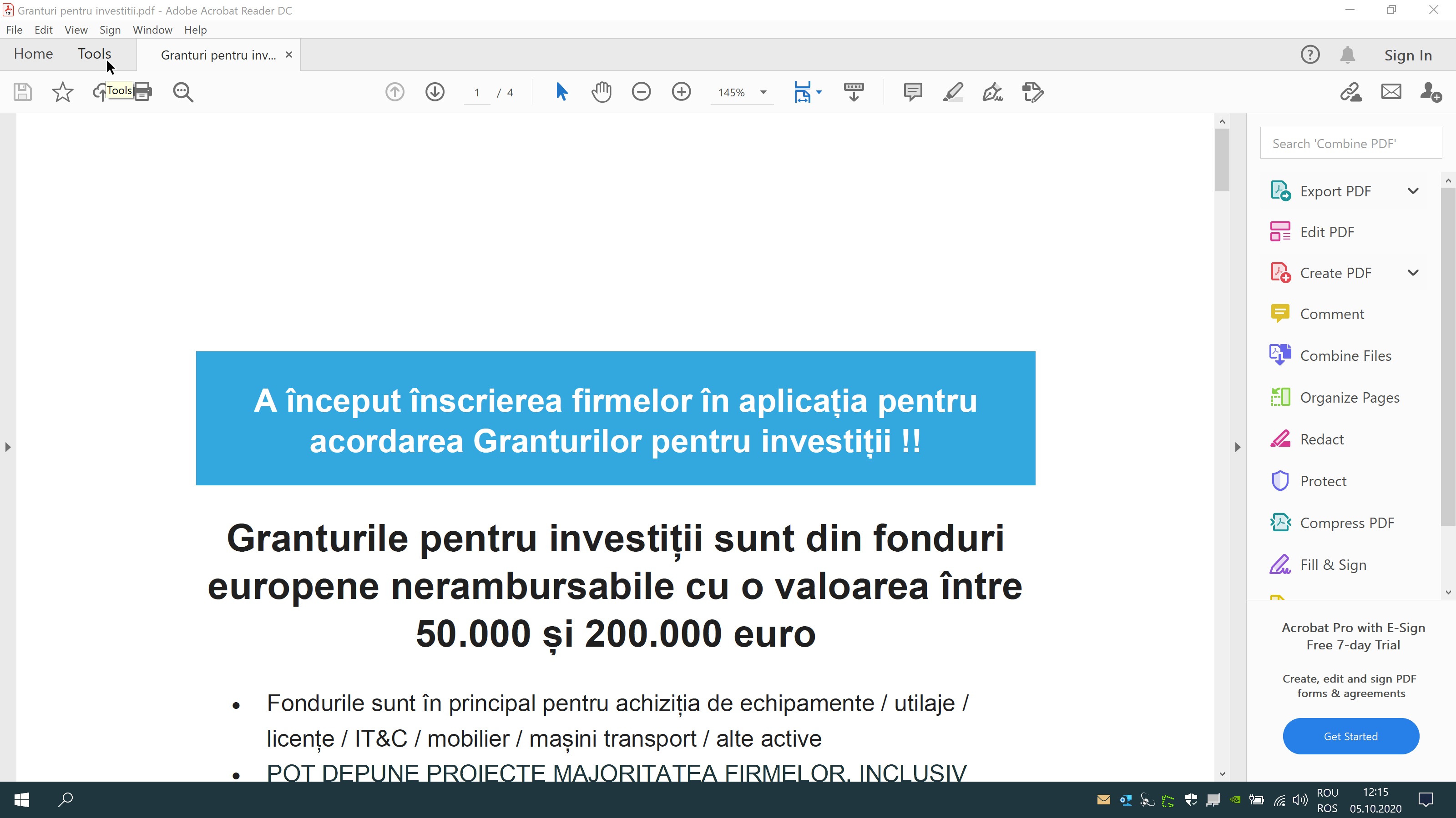 Deschide documentul cu Adobe Reader